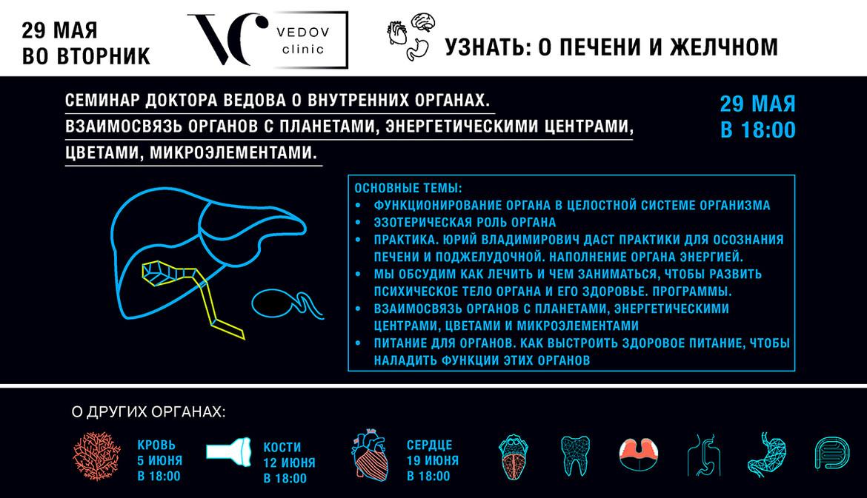 Семинар доктора Ведова о внутренних органах. Взаимосвязь органов с планетами, энергетическими центрами, цветами, микроэлементами. Печень
