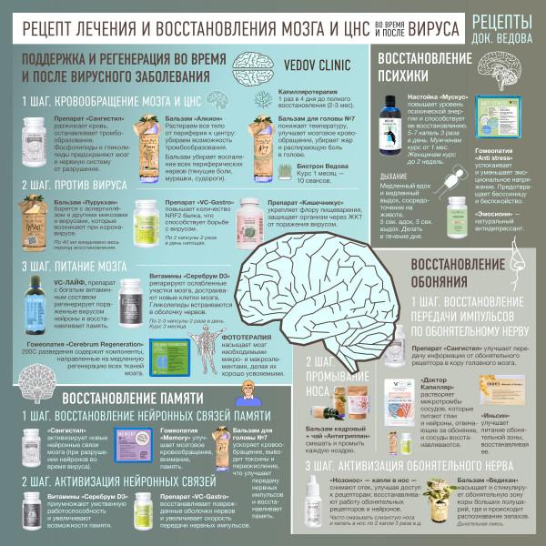 Как вылечить и восстановить мозг и ЦНС после вируса и при вирусном заболевании. Рецепт доктора Ведова