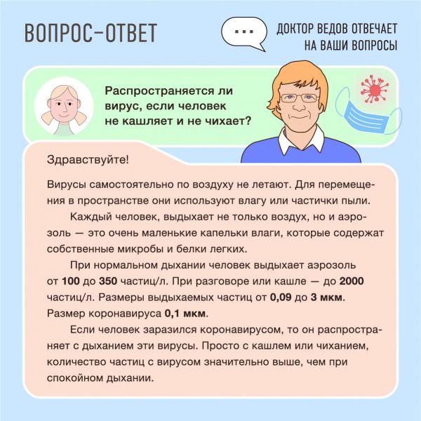 Распространяется ли вирус, если человек не кашляет и не чихает